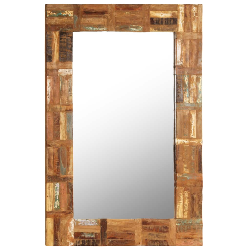 vidaXL Nástenné zrkadlo z masívneho recyklovaného dreva 60x90 cm