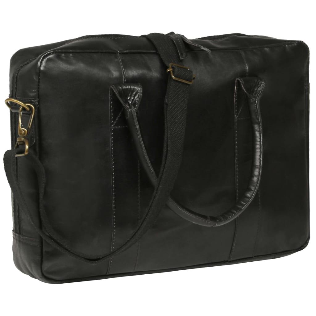 vidaXL Zipsová taška na laptop čierna pravá koža