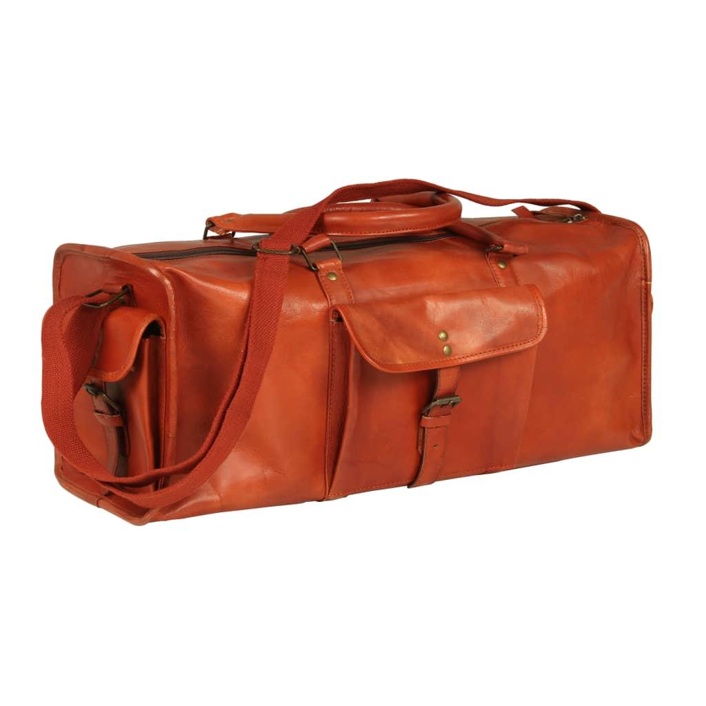 vidaXL Športová taška žltohnedá pravá koža