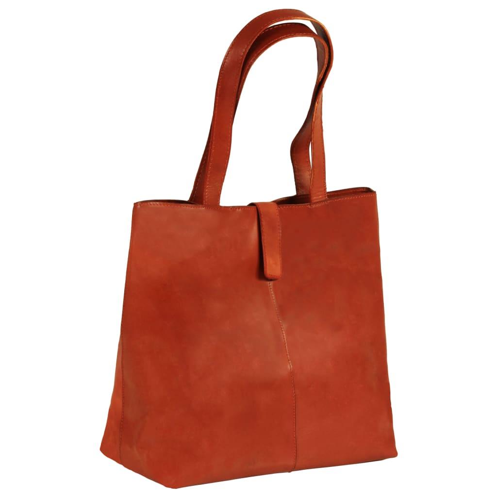 vidaXL Dámska nákupná taška bledohnedá pravá koža