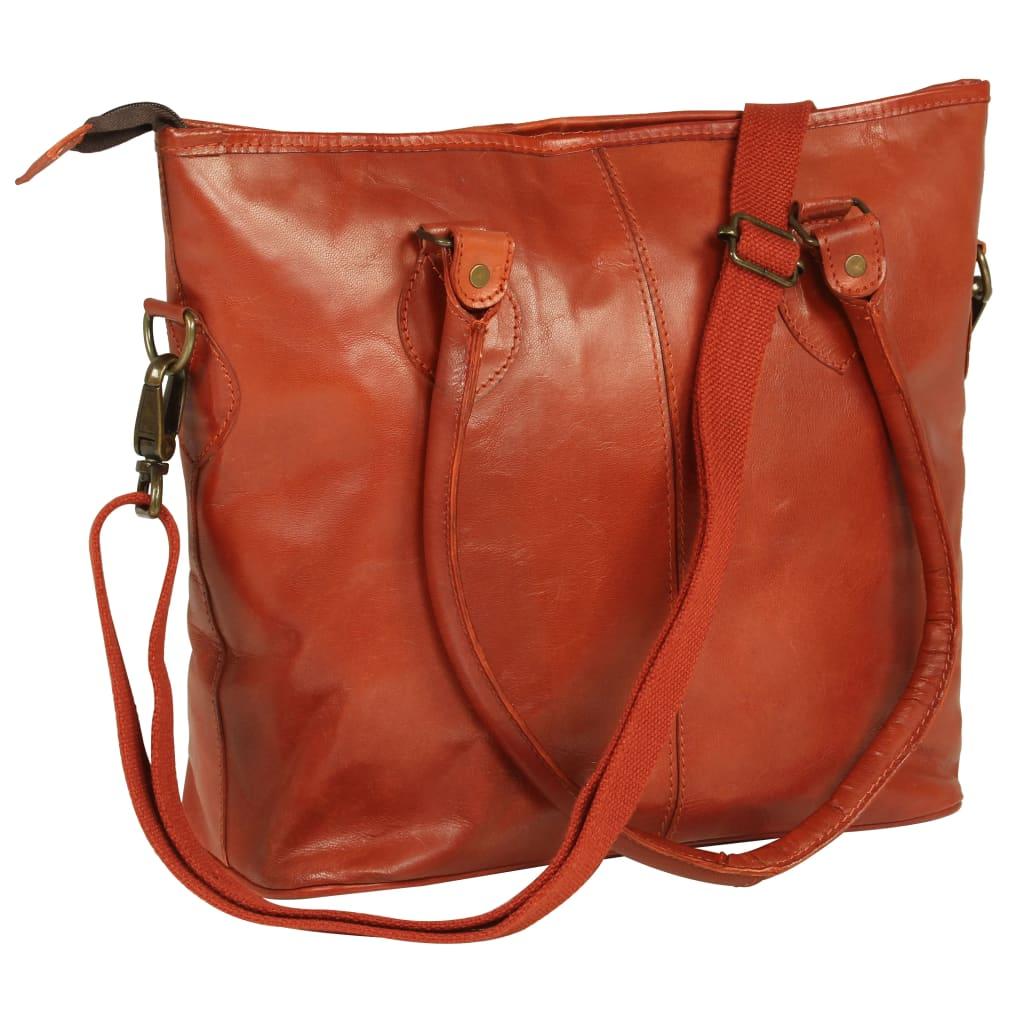 vidaXL Dámska nákupná taška žltohnedá pravá koža
