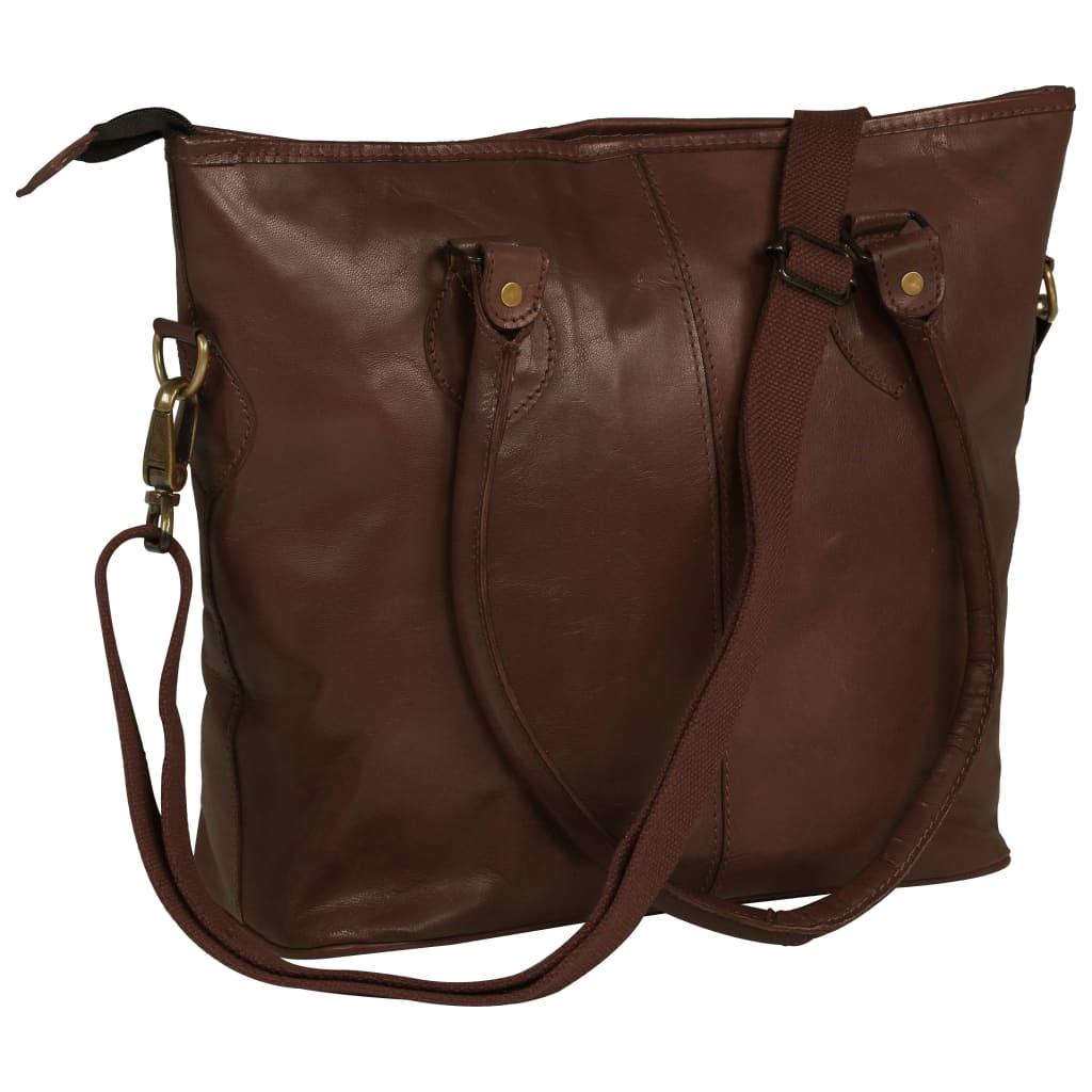 vidaXL Dámska nákupná taška hnedá pravá koža