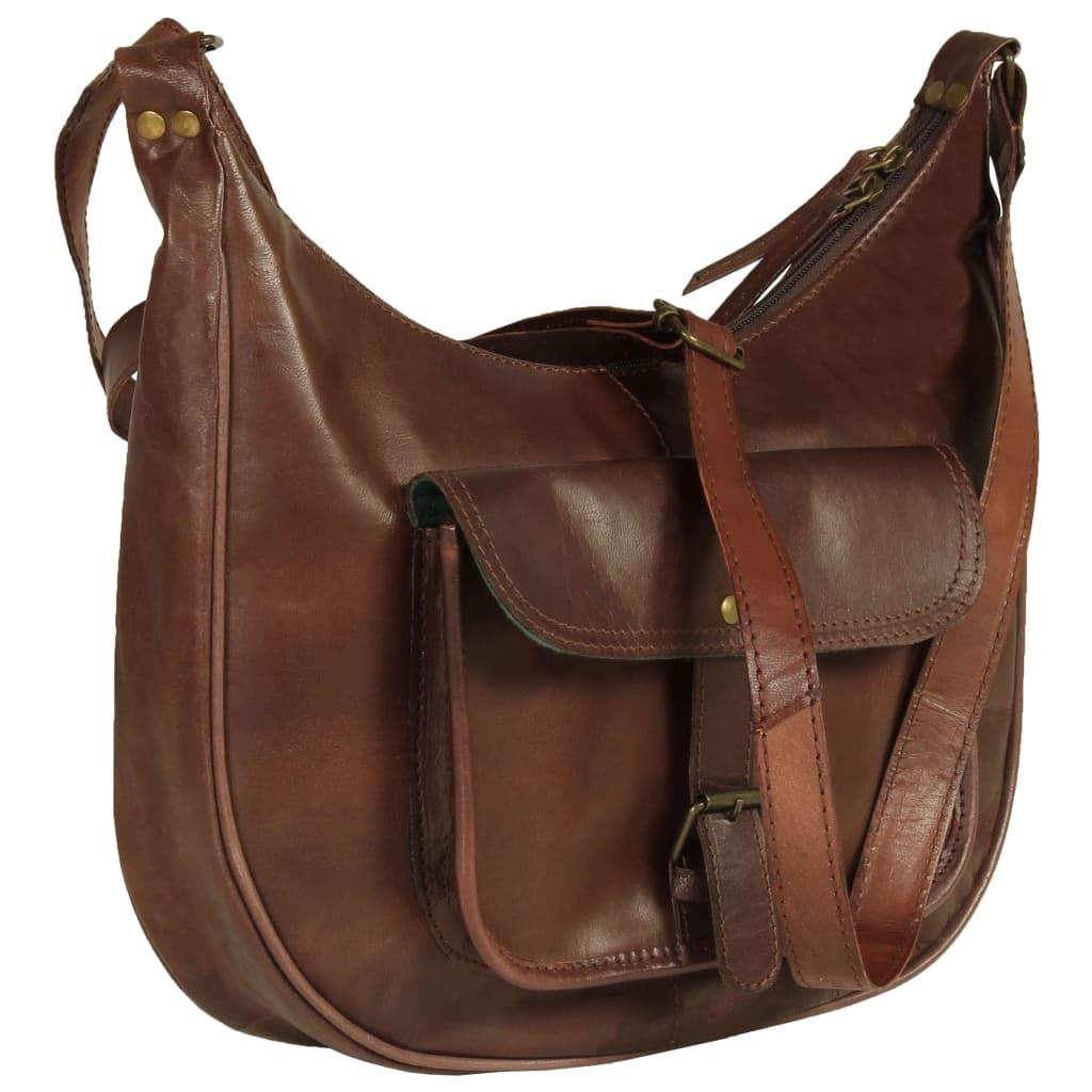 vidaXL Dámska kabelka hnedá pravá koža