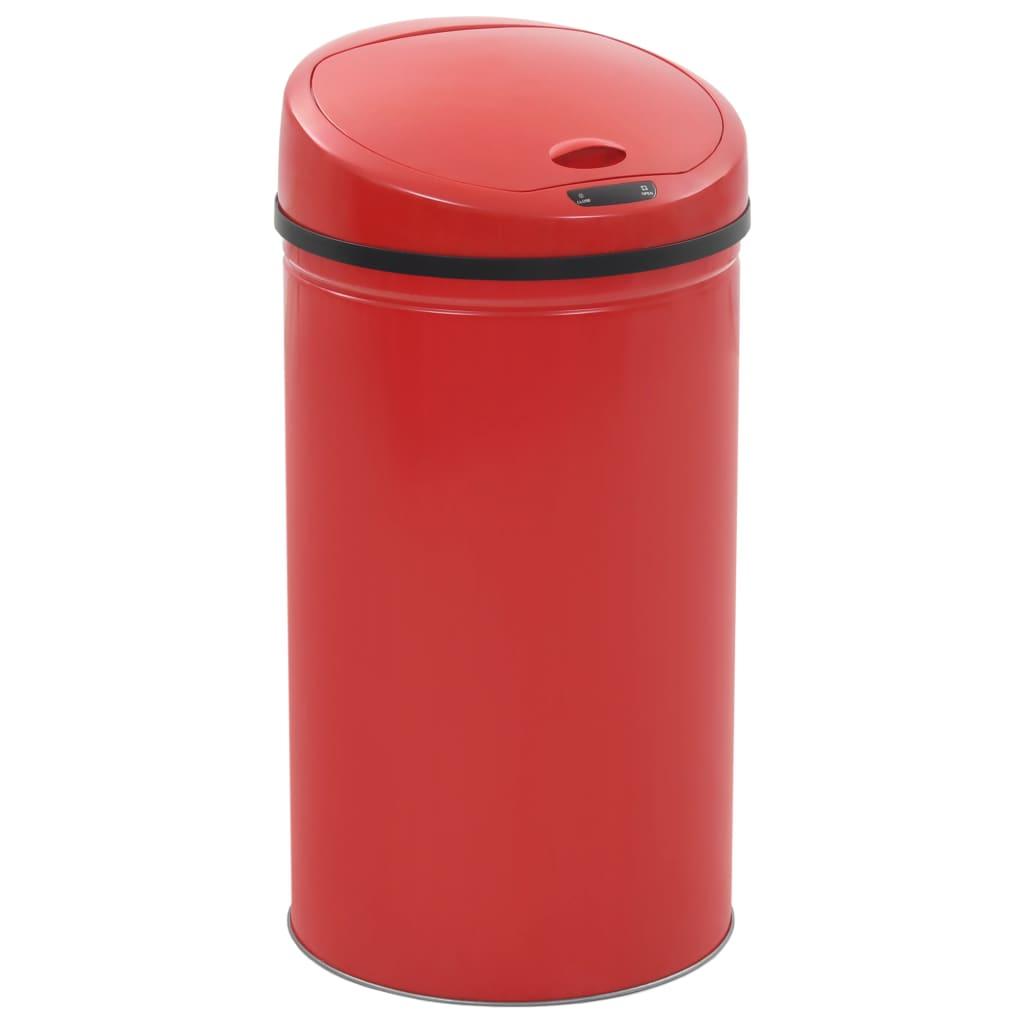 vidaXL Bezdotykový odpadkový kôš 42 l, červený