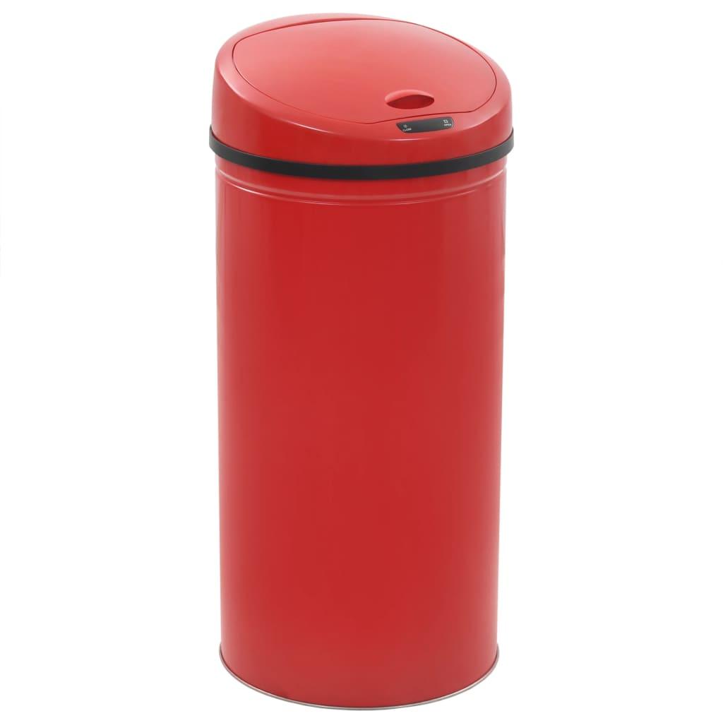 vidaXL Bezdotykový odpadkový kôš 52 l, červený
