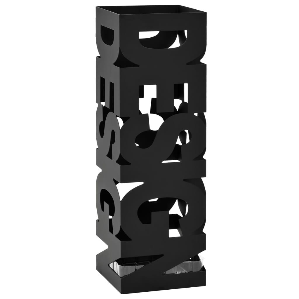 vidaXL Stojan na dáždniky Design, oceľový, čierny