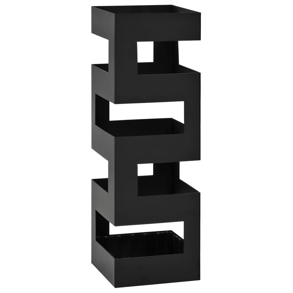 vidaXL Stojan na dáždniky Tetris oceľový čierny