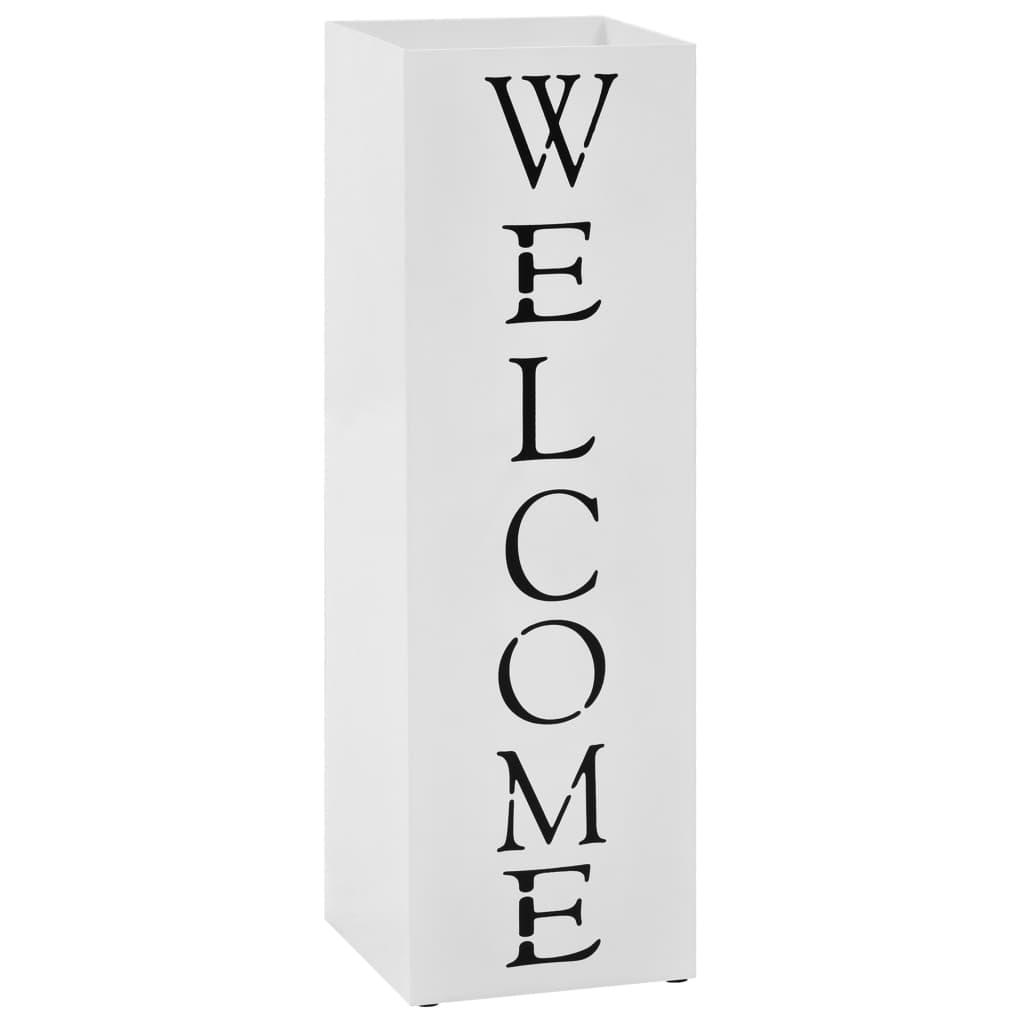 vidaXL Stojan na dáždniky, nápis Welcome oceľový biely