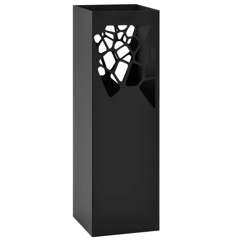 vidaXL Stojan na dáždniky oceľový čierny dizajn kameňov