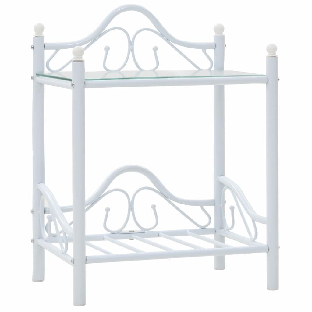 vidaXL Nočný stolík, oceľ a tvrdené sklo, 45x30,5x60 cm, biely