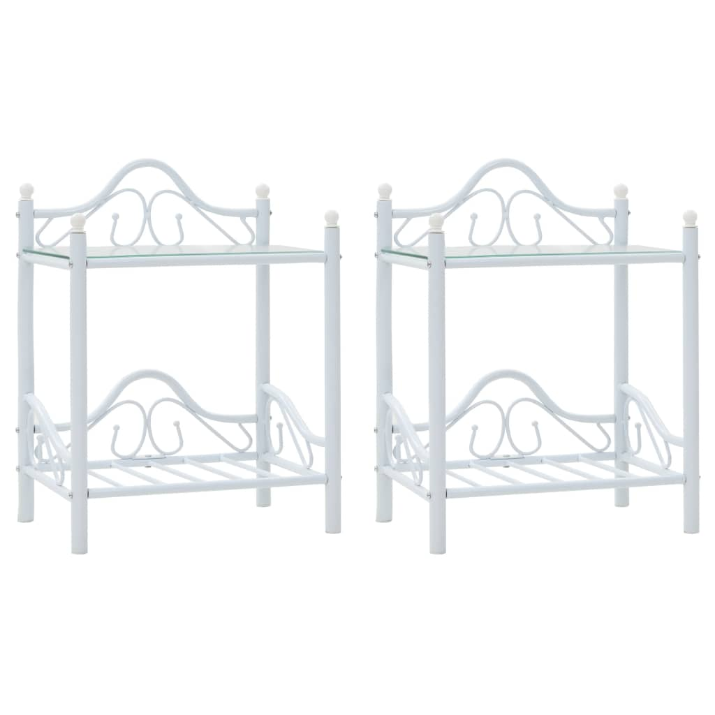 vidaXL Nočné stolíky, 2 ks, oceľ a tvrdené sklo, 45x30,5x60 cm, biele