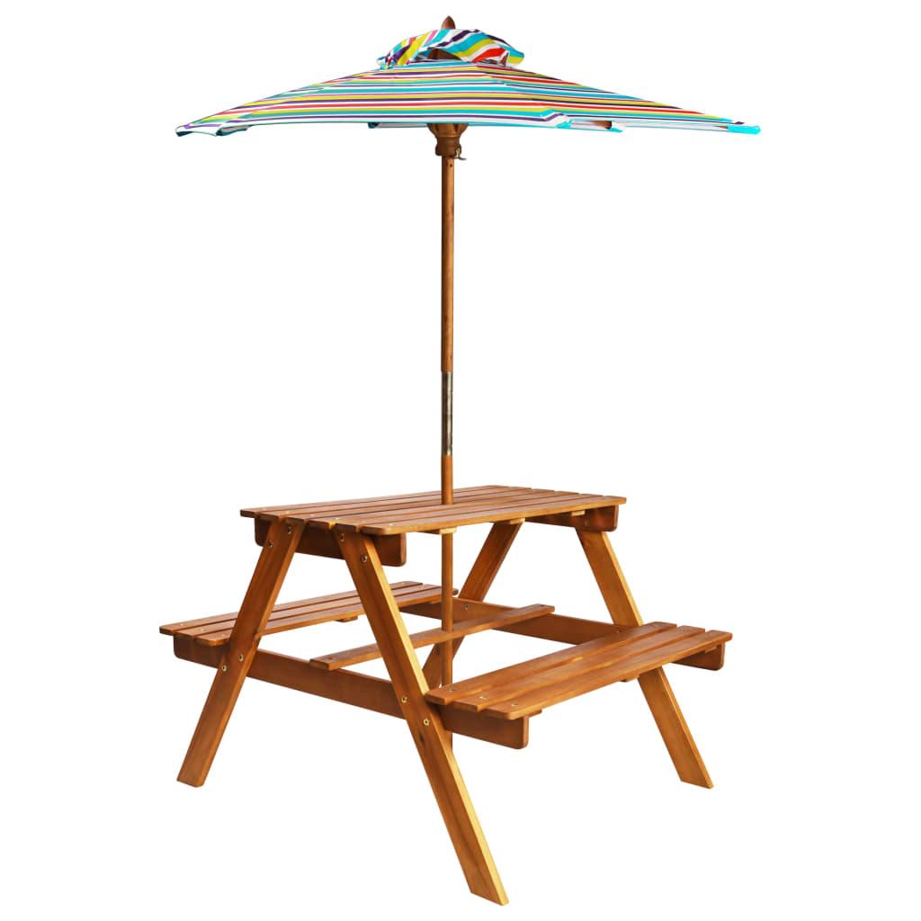 vidaXL Detský piknikový stôl so slnečníkom 79x90x60 cm masívne akáciové drevo