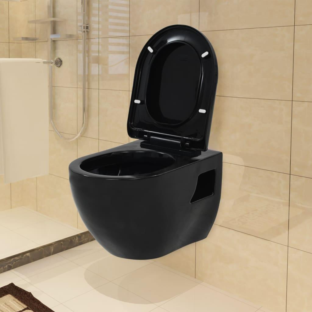 vidaXL Závesné WC, keramické, čierne