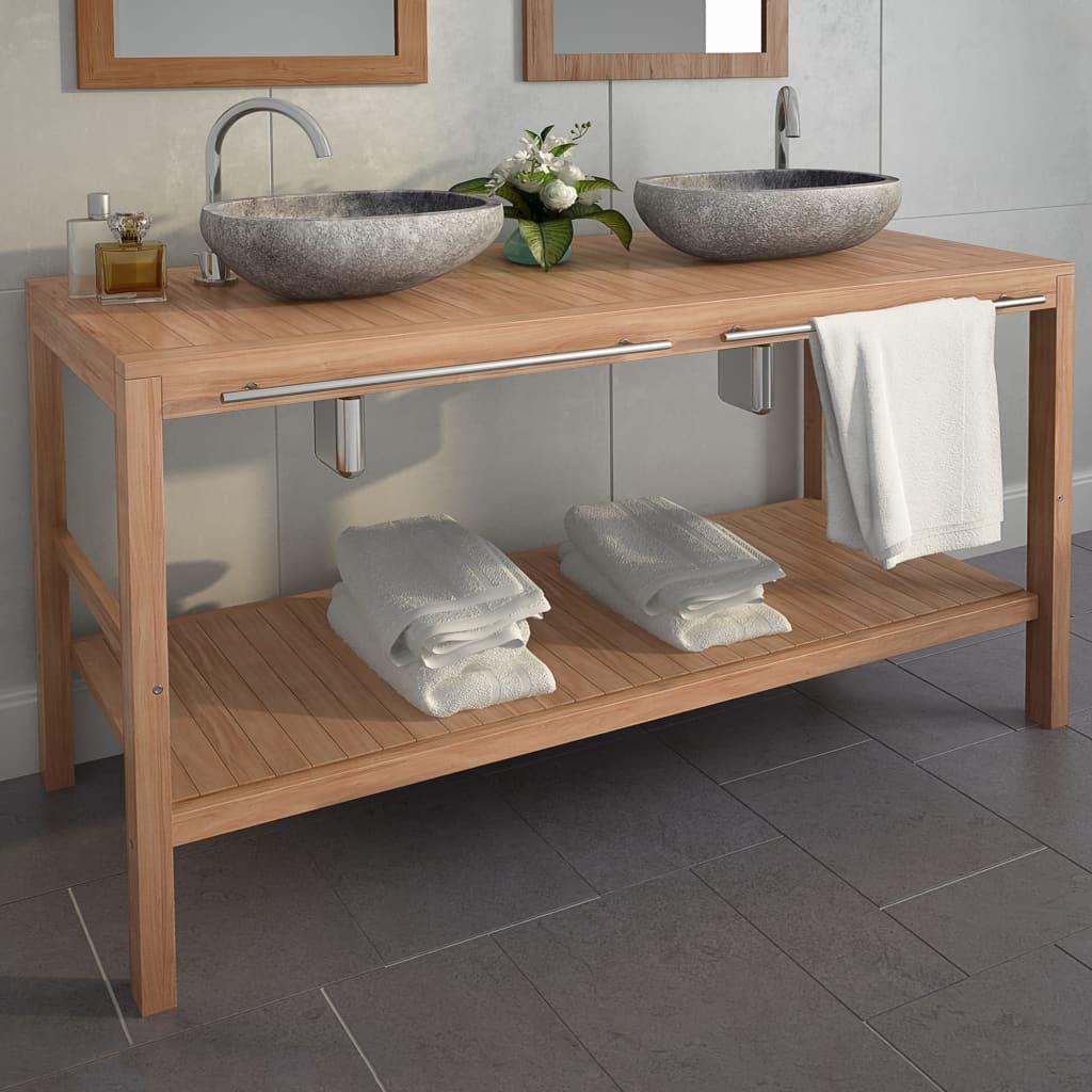 vidaXL Kúpeľňová skrinka, masívne teakové drevo 132x45x75 cm