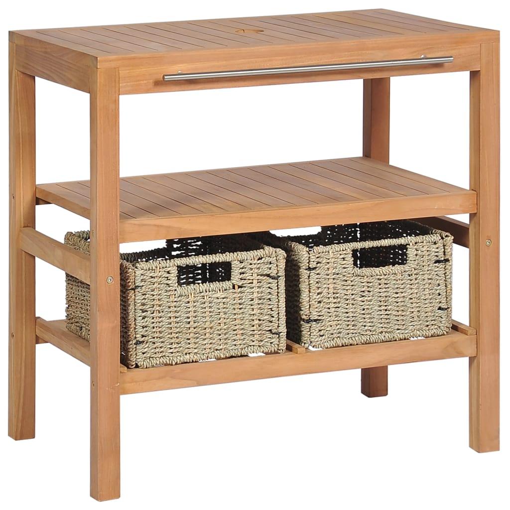 vidaXL Umývadlová skrinka s 2 košíkmi, teakové drevo, 74x45x75 cm