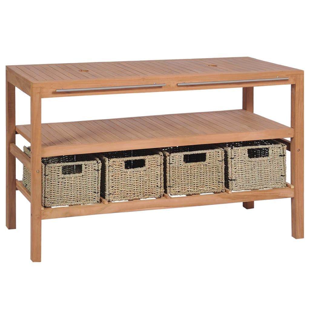 vidaXL Kúpeľňová skrinka so 4 košíkmi, teakové drevo 132x45x75 cm