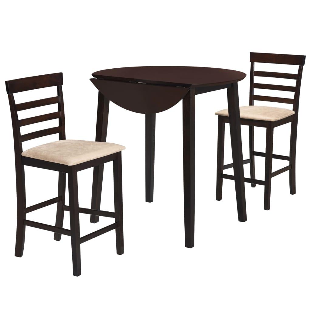 vidaXL Barový stôl a stoličky, 3 kusy, masív, tmavohnedé