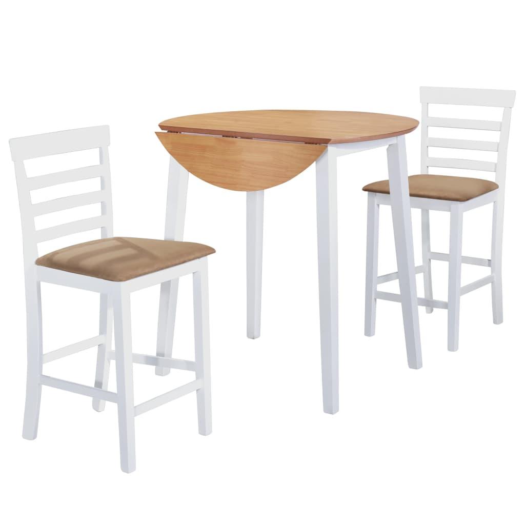 vidaXL Barový stôl a stoličky, 3 kusy, masív, prírodná a biela