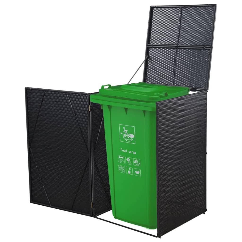 vidaXL Ohrada na odpadkový kôš, polyratan 76x78x120 cm, čierna