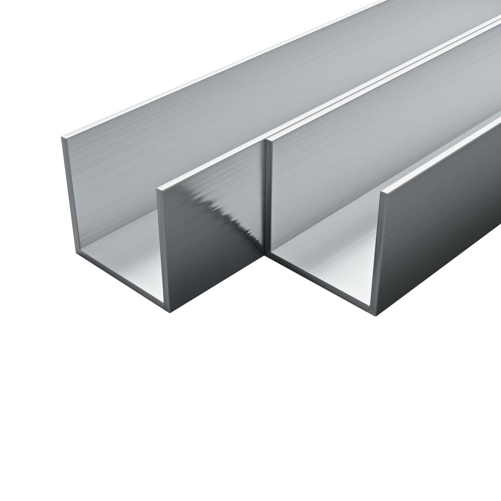 vidaXL 4 ks hliníkové kanály 2m 20x20x2mm U-profil
