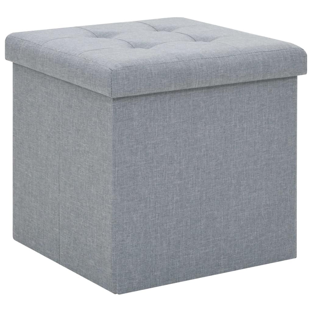 vidaXL Skladacia taburetka, úložná, umelý ľan 38x38x38 cm, svetlosivá