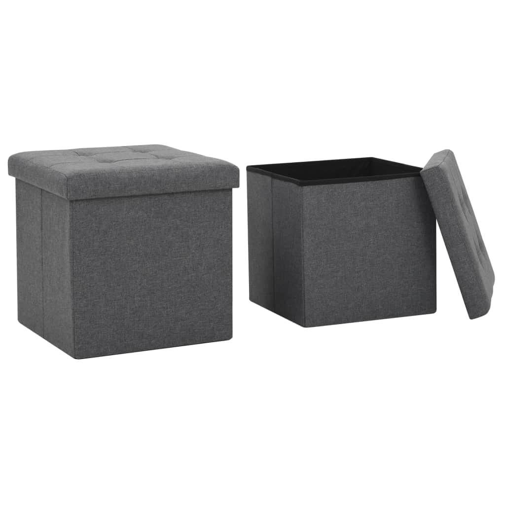 vidaXL Skladacie taburetky, úložné 2ks, umelý ľan 38x38x38cm,tmavosivé