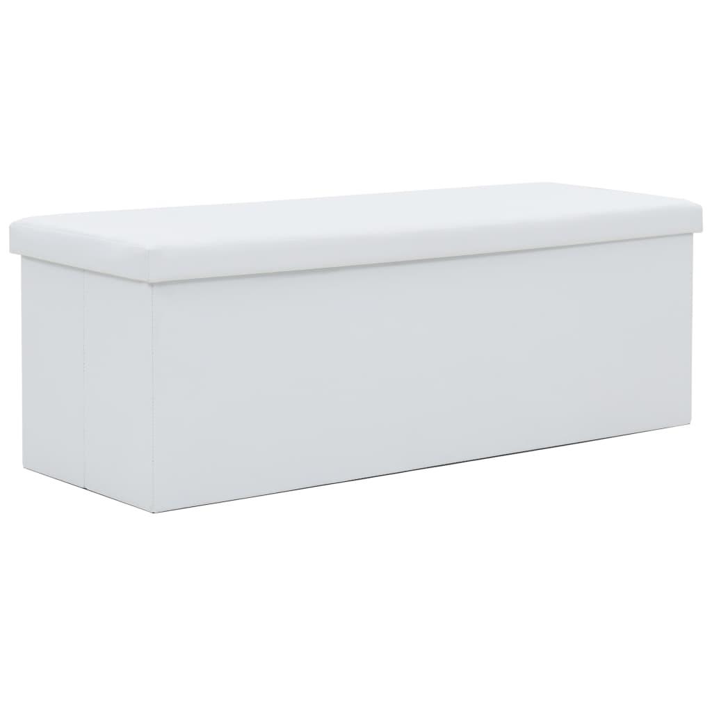 vidaXL Skladacia úložná lavica z umelej kože 110x38x38 cm biela