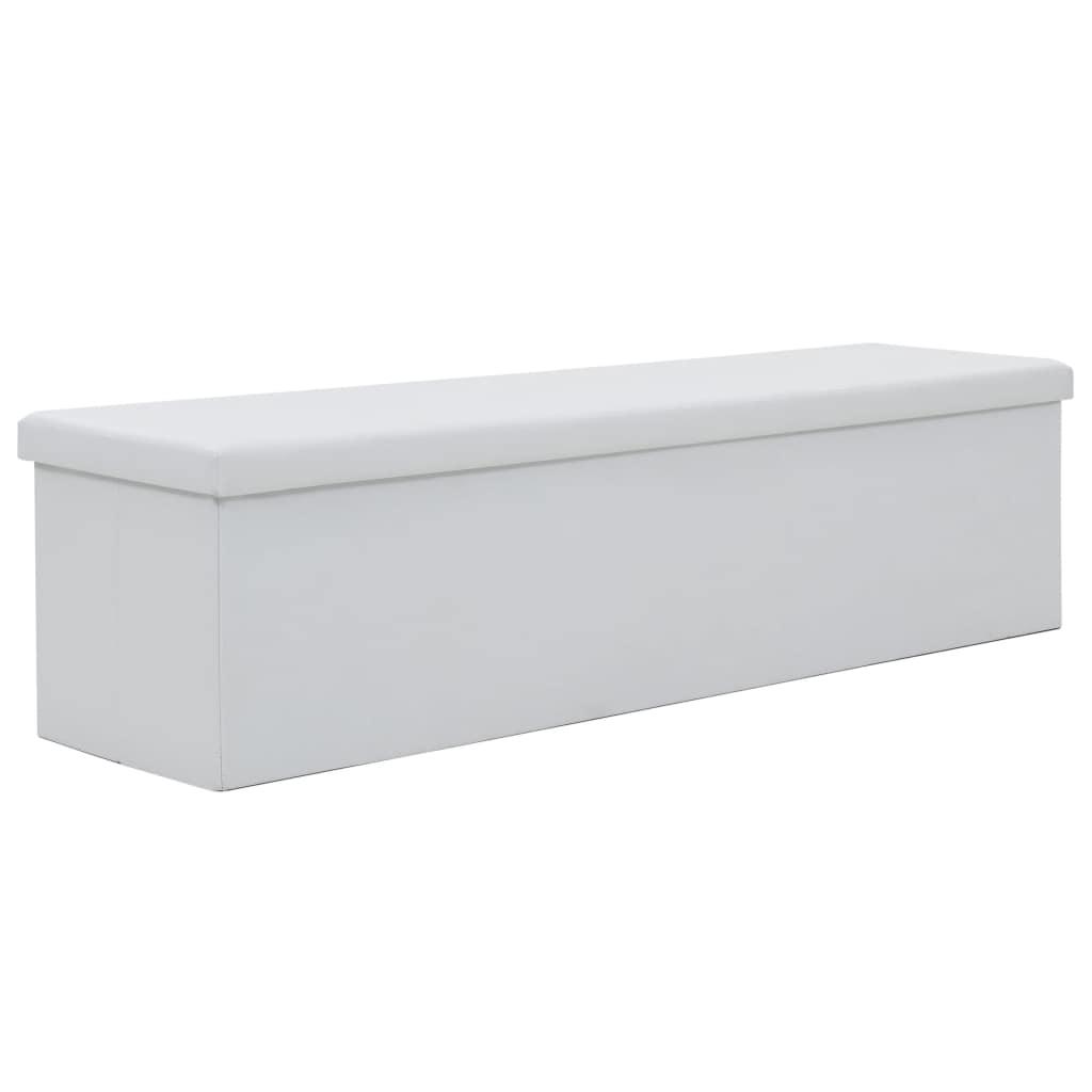 vidaXL Skladacia úložná lavica z umelej kože 150x38x38 cm biela