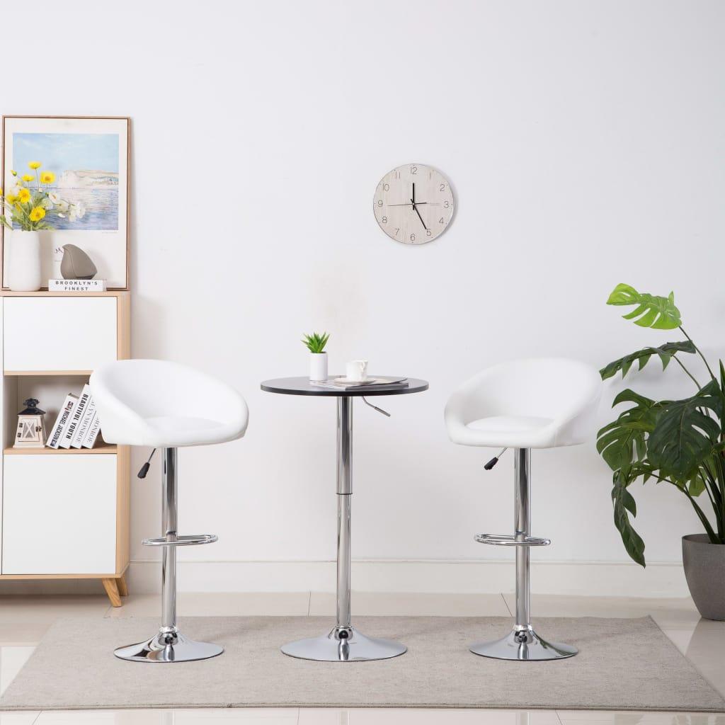 vidaXL Barové stoličky 2 ks, umelá koža, biele