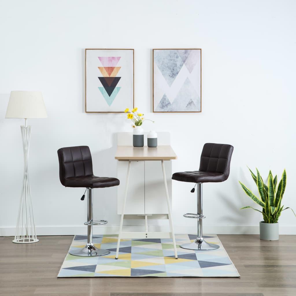vidaXL Barové stoličky 2 ks hnedé umelá koža