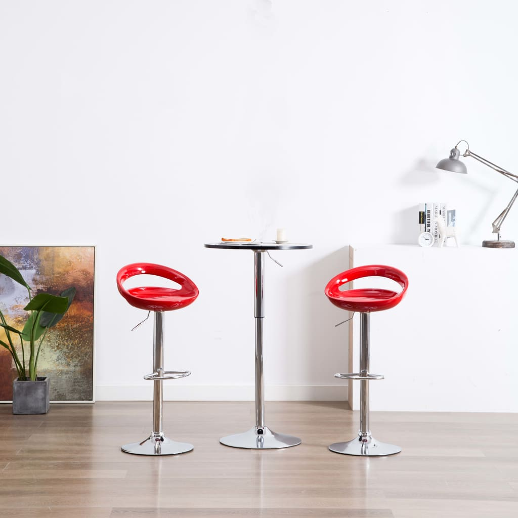 vidaXL Barové stoličky z plastu, 2 ks, červené