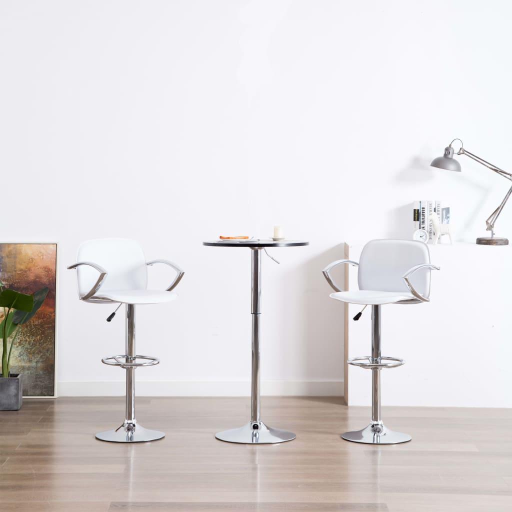 vidaXL Barové stoličky z umelej kože s opierkami na ruky 2 ks biele