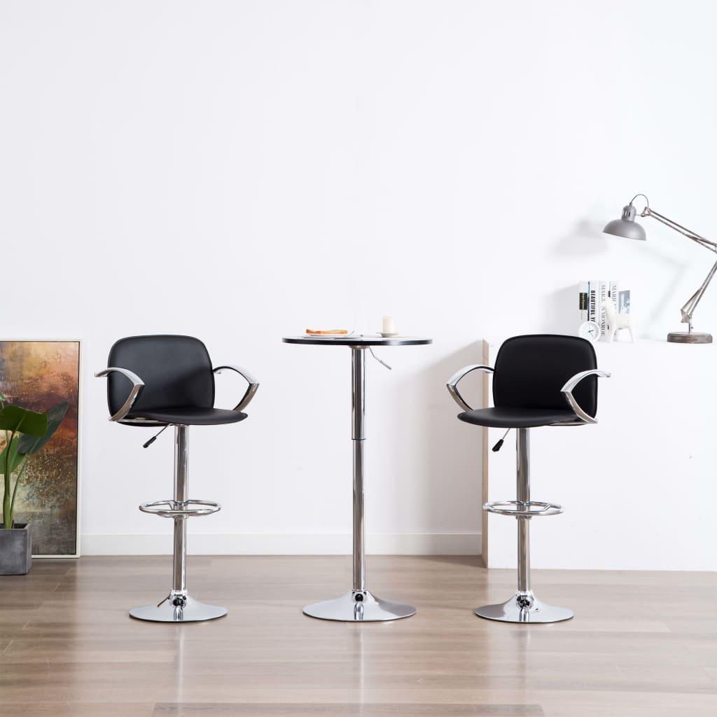 vidaXL Barové stoličky z umelej kože s opierkami na ruky 2 ks čierne