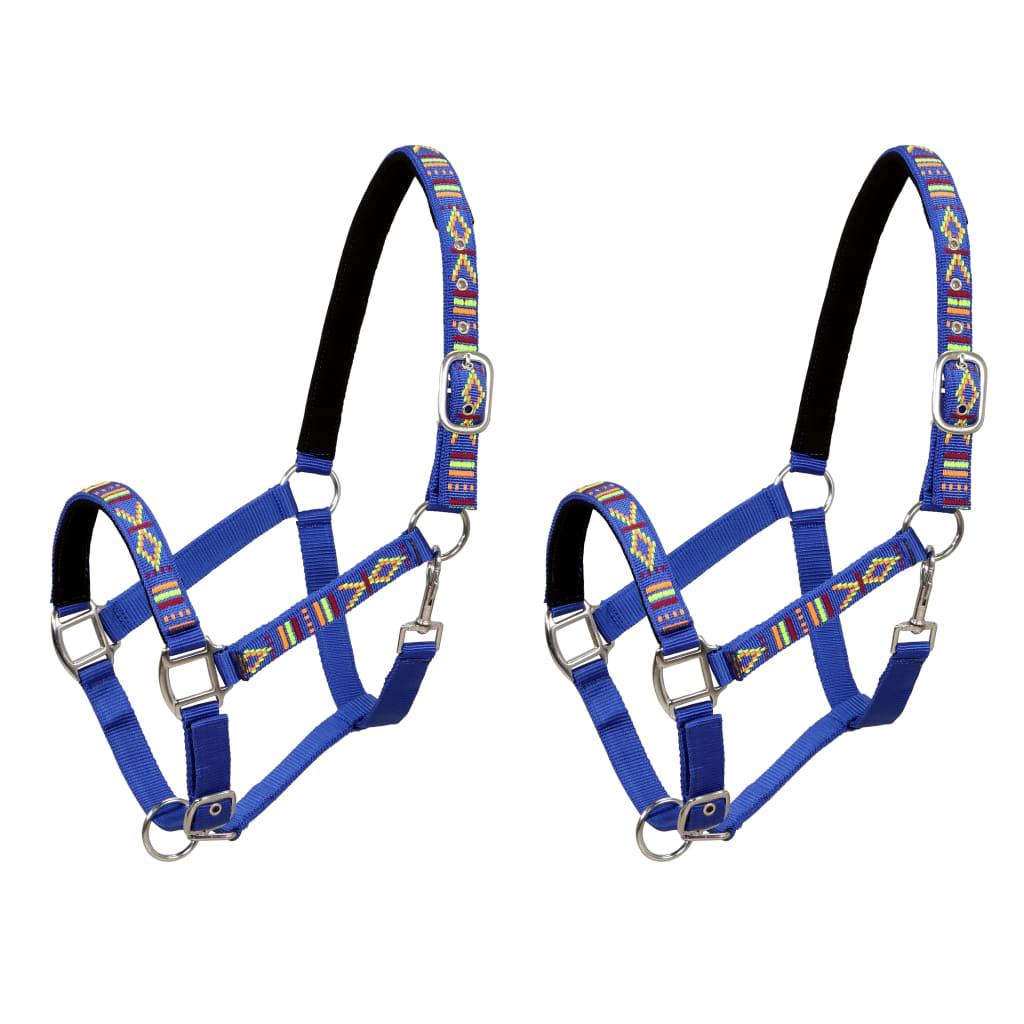vidaXL Konské ohlávky 2 ks, nylón, veľkosť cob, modré