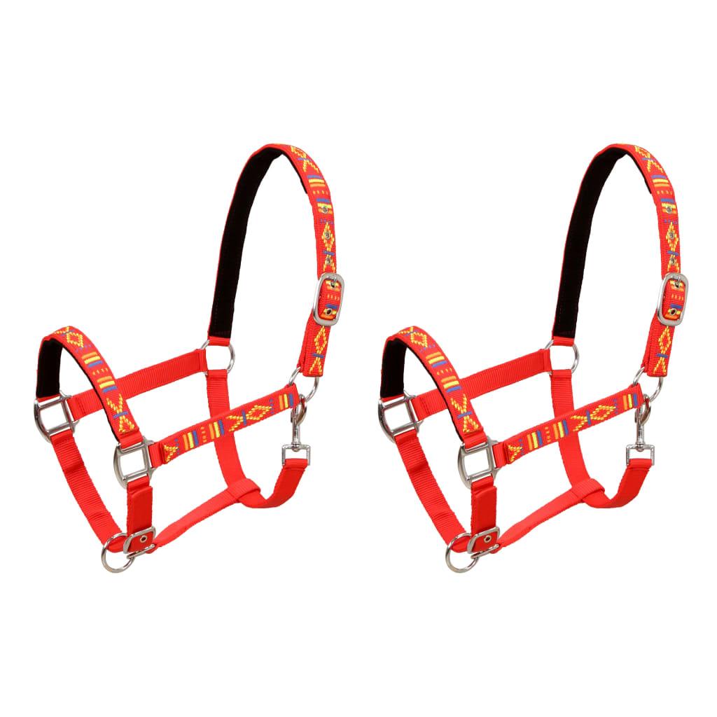 vidaXL Konské ohlávky 2 ks, nylón, veľkosť pony, červené
