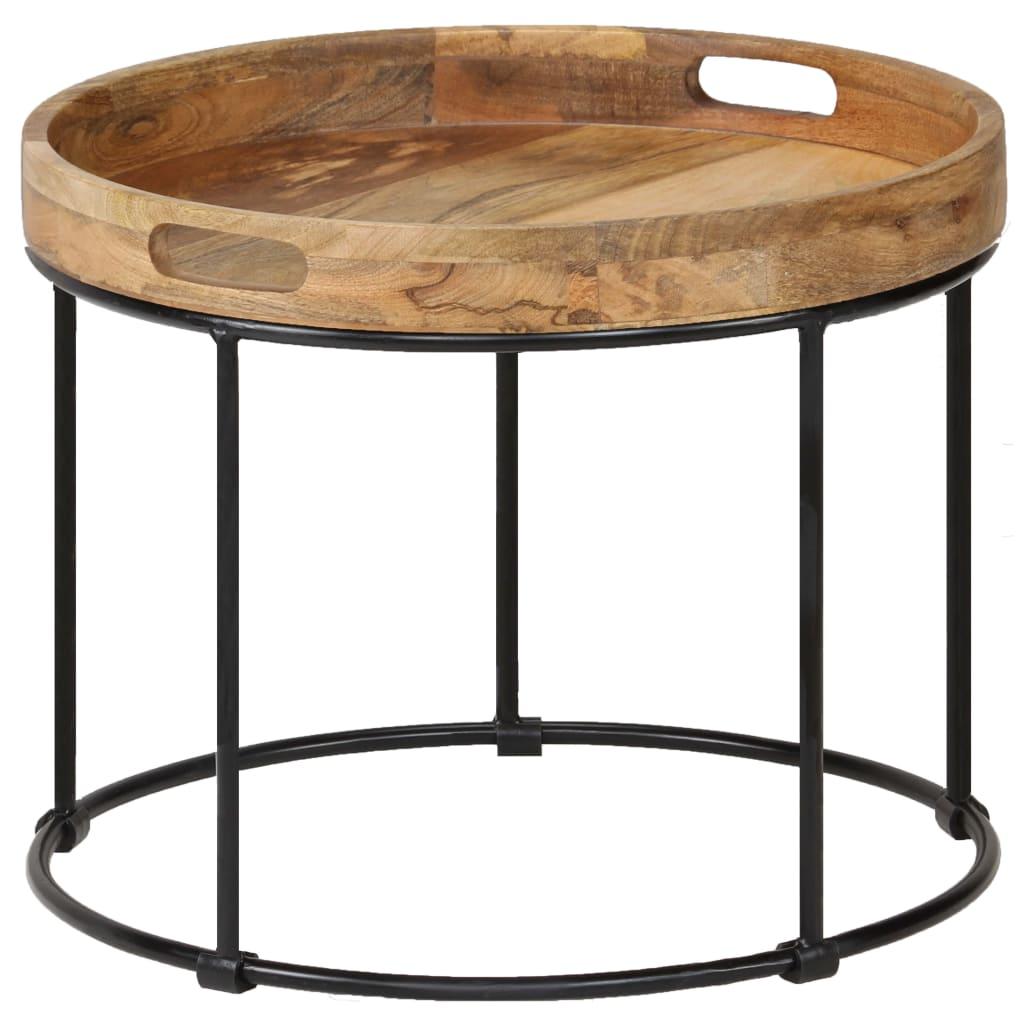 vidaXL Konferenčný stolík 50x40 cm masívne mangovníkové drevo a oceľ