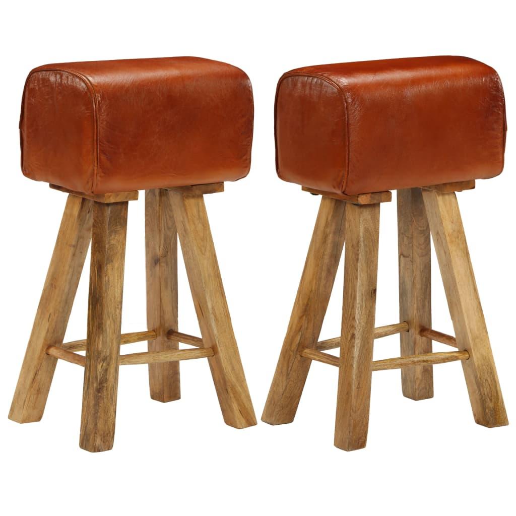 vidaXL Barové stoličky 2 ks mangové drevo a pravá koža 48x31x76 cm