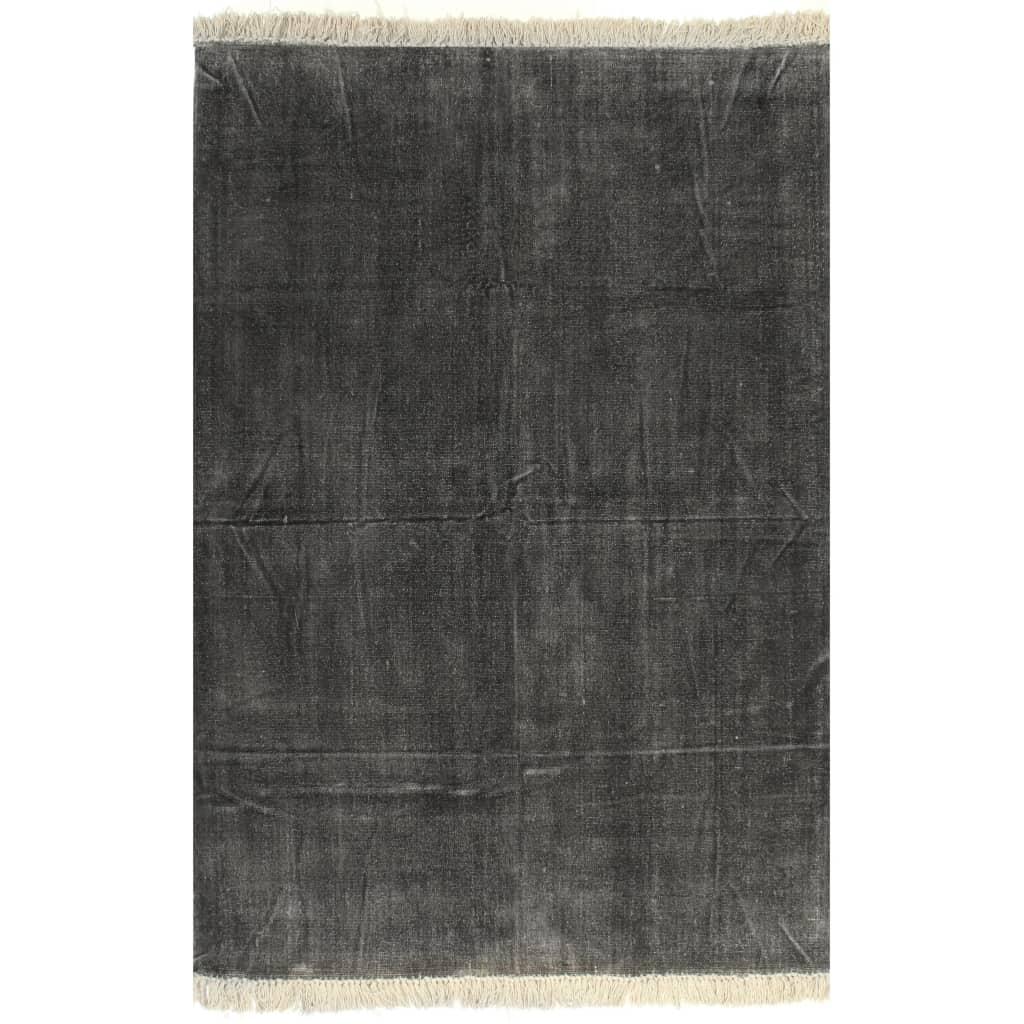 vidaXL Kilim Koberec z bavlny 200x290 cm antracitový