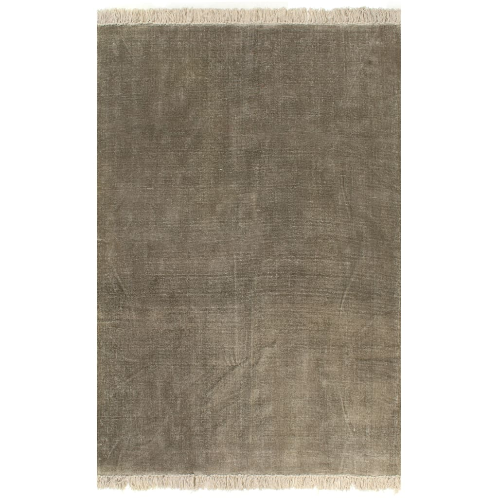 vidaXL Kilim Koberec z bavlny 160x230 cm sivo-hnedý