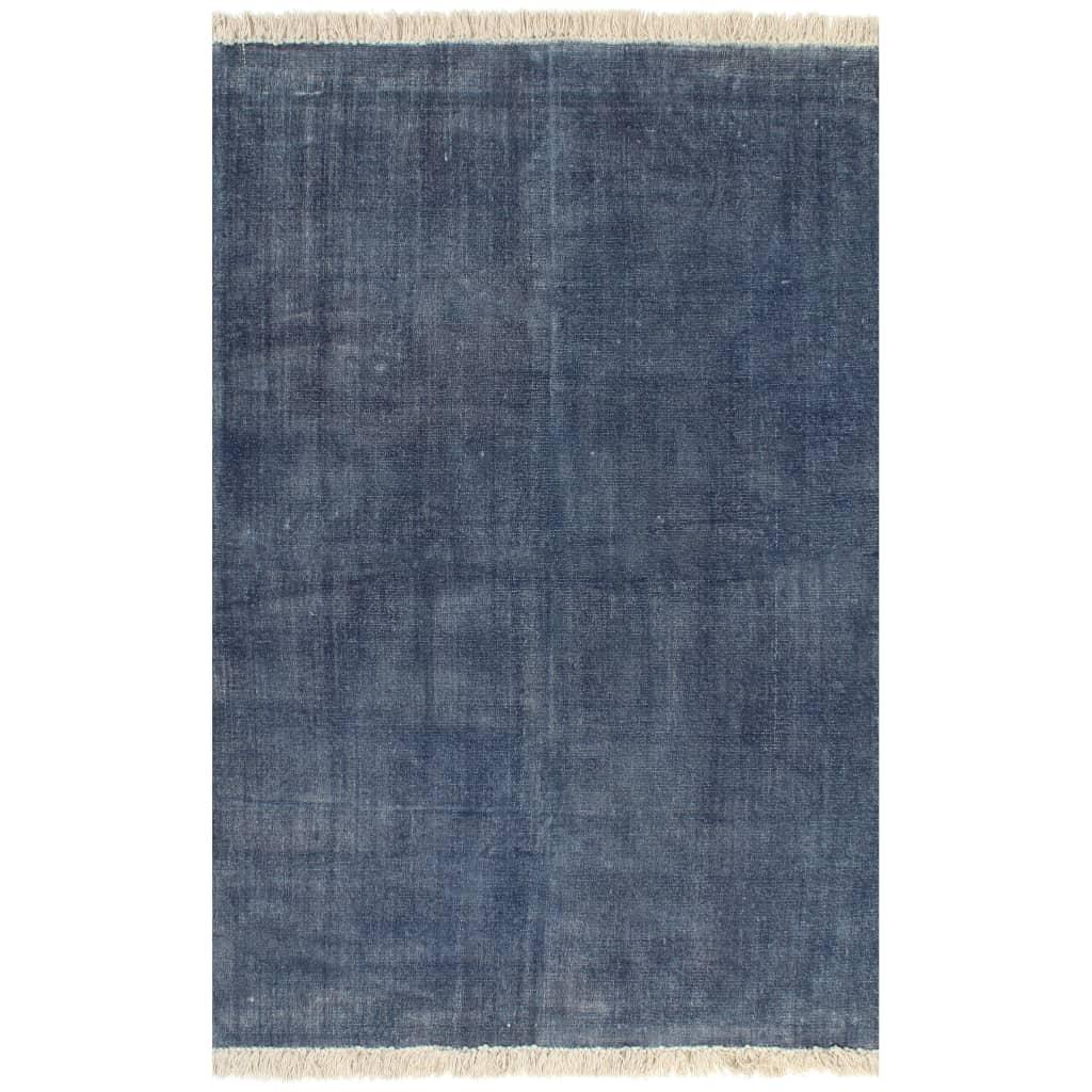 vidaXL Kilim Koberec z bavlny 160x230 cm modrý