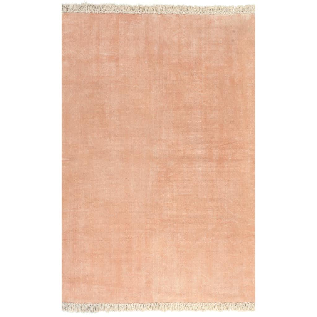 vidaXL Kilim Koberec z bavlny 120x180 cm ružový