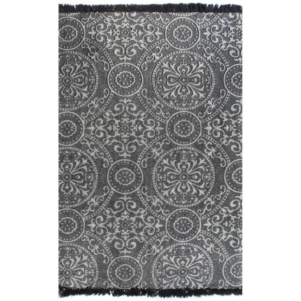 vidaXL Kilim koberec sivý 160x230 cm bavlnený vzorovaný