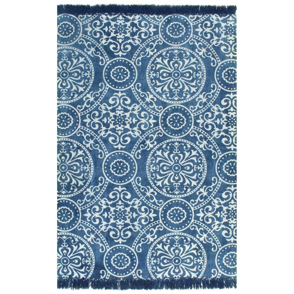 vidaXL Kilim koberec modrý 120x180 cm bavlnený vzorovaný