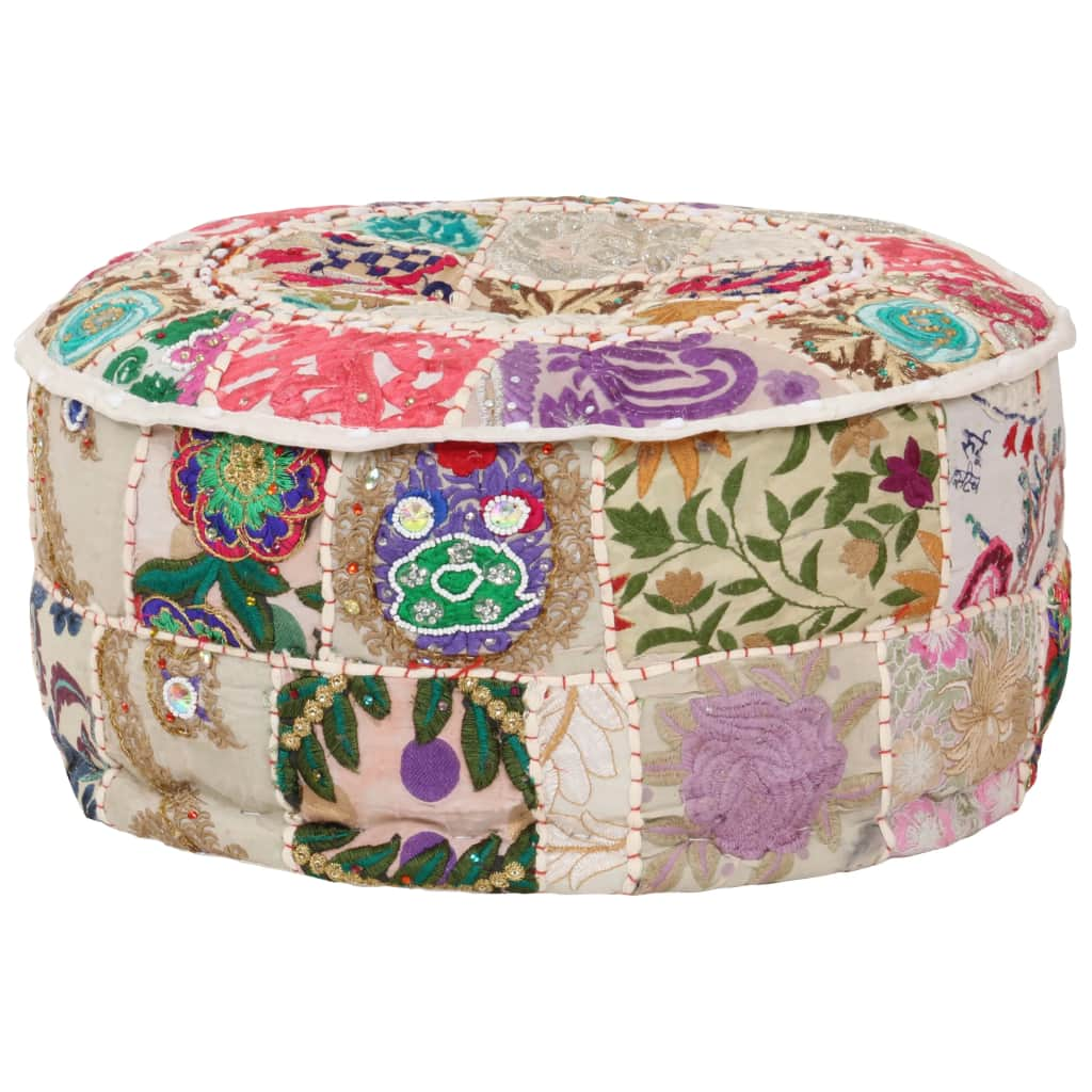 vidaXL Patchwork taburetka z bavlny okrúhla 40x20 cm béžová