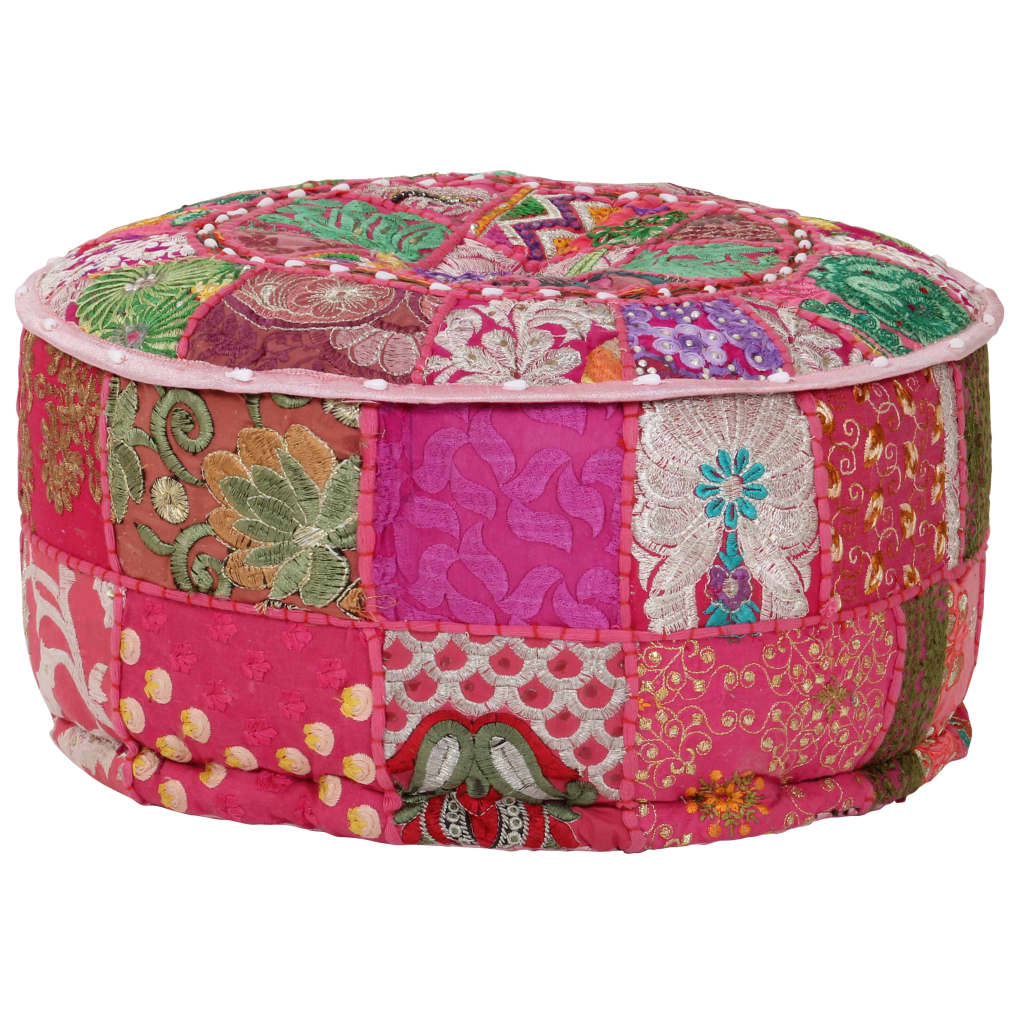 vidaXL Patchwork taburetka z bavlny okrúhla 40x20 cm ružová