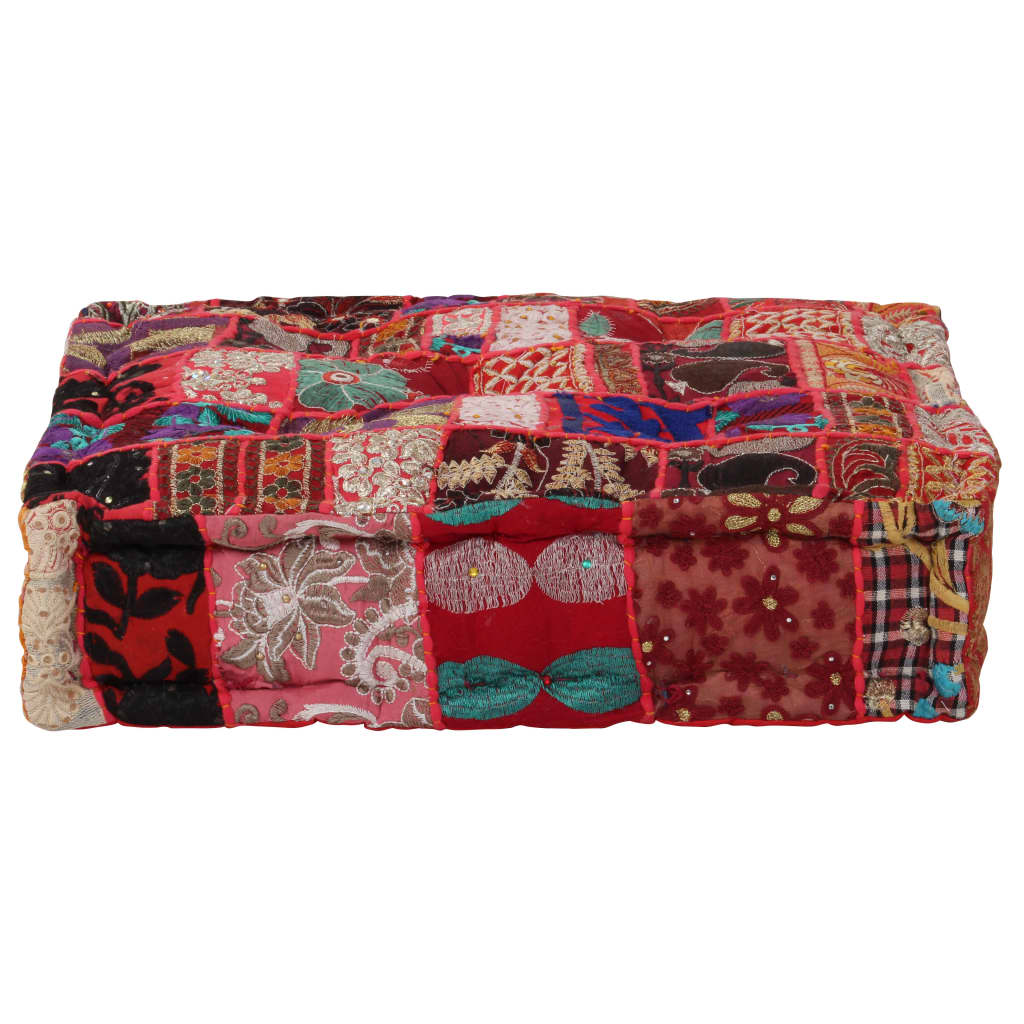 vidaXL Patchwork taburetka červená 50x50x12 cm bavlnená štvorcová ručne vyrobená
