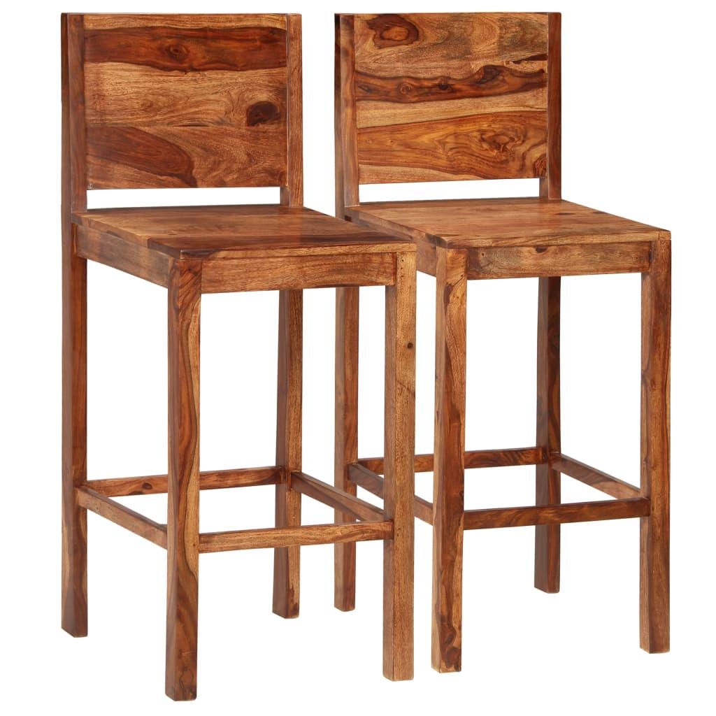 vidaXL Barové stoličky zo sheeshamového dreva 2 ks hnedé