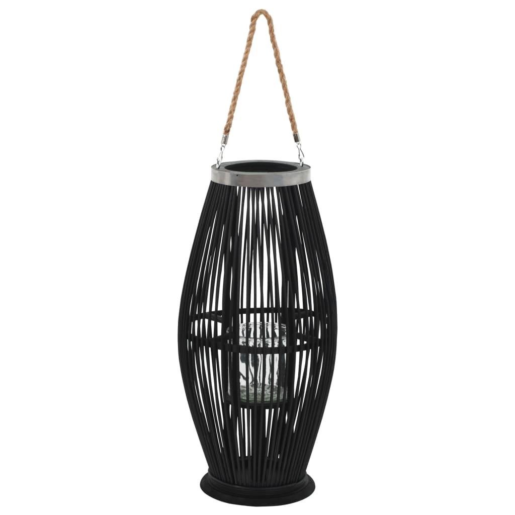vidaXL Závesný svietnik čierny 60 cm bambusový