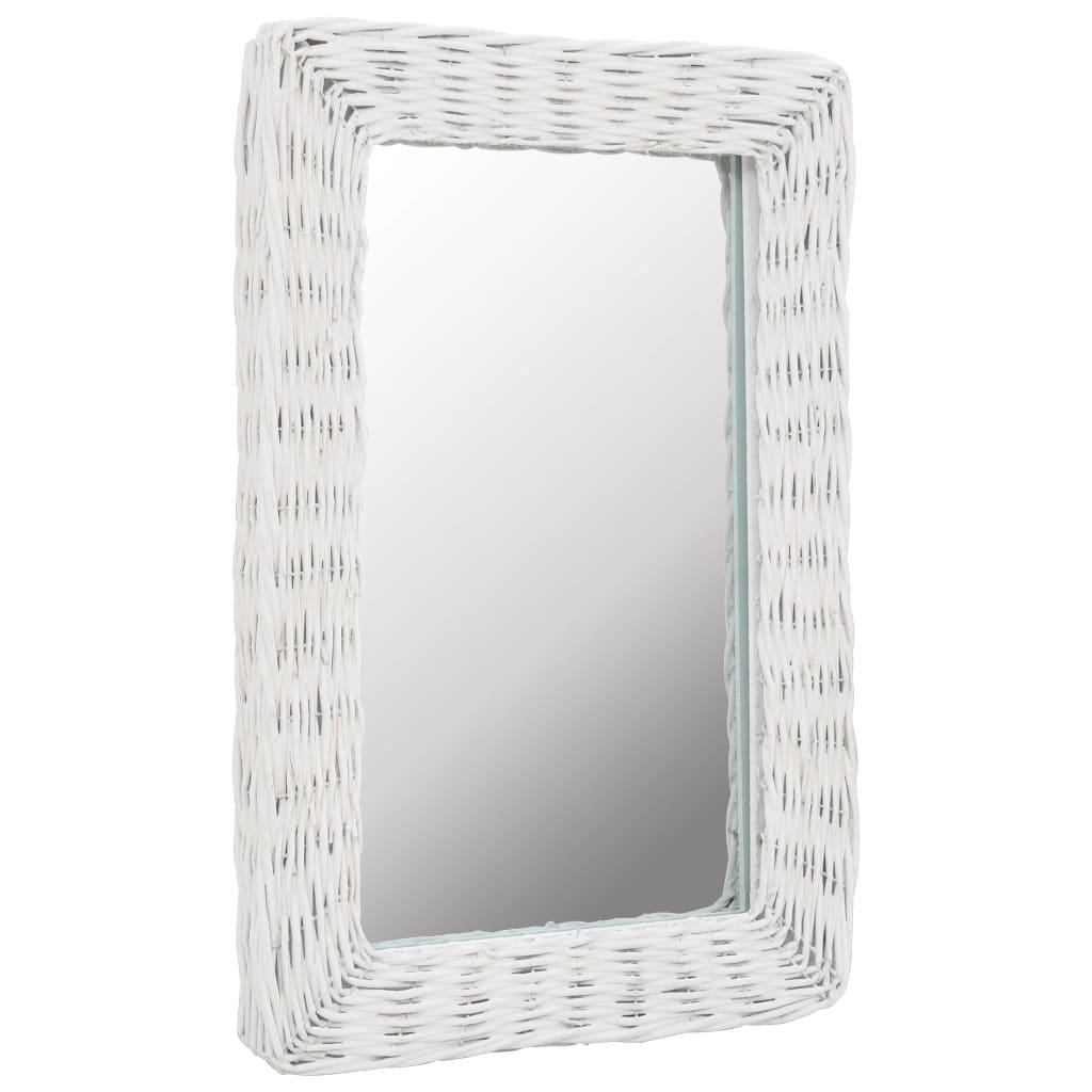 vidaXL Zrkadlo s prúteným rámom biele 40x60 cm