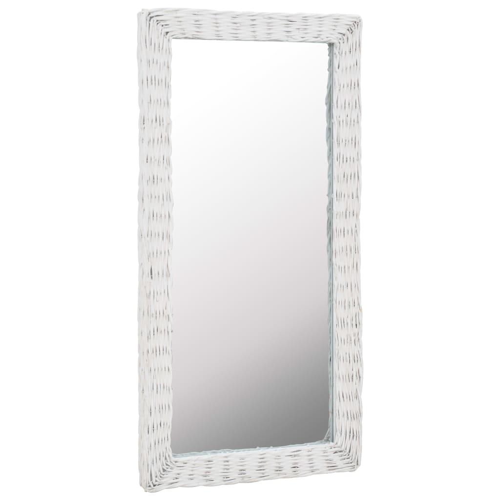 vidaXL Zrkadlo s prúteným rámom biele 50x100 cm